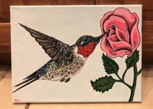 Hummingbird/Rose Painting