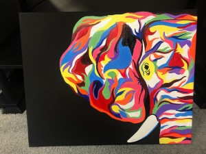 Freehand Multicolored Elephant (Front View)